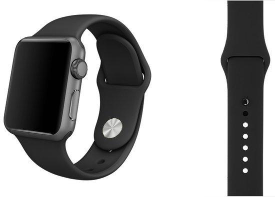 Siliconen Band Voor Apple Watch Series  1/2/3/4 38 MM /40 MM - iWatch Armband Polsband Strap - Zwart