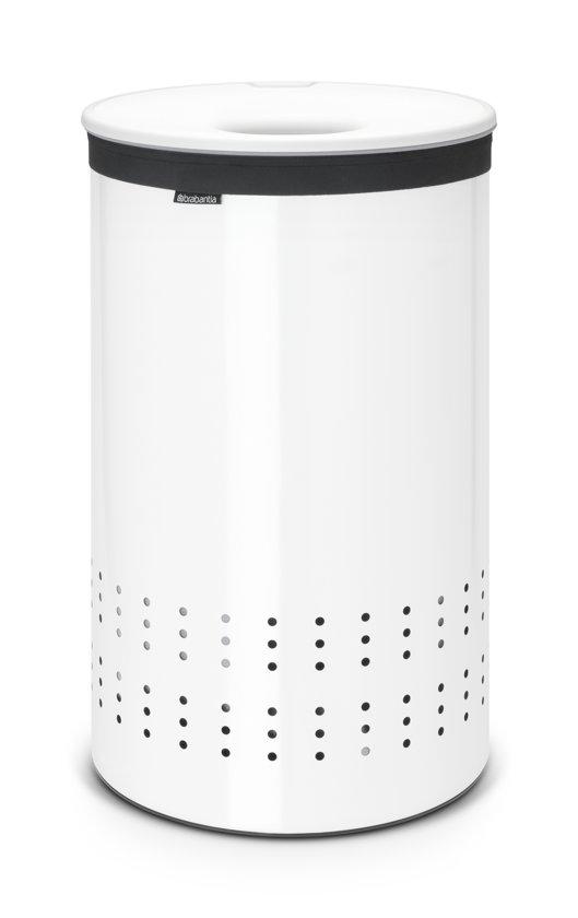 Brabantia Wasbox 50 Liter Matt Steel.Brabantia Wasmand Wasbox Met Uitneembare Waszak Rond 50 Liter Wit Met Witte Kunststof Deksel