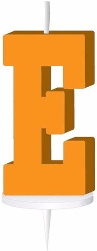 Oranje letterkaarsje met houder E