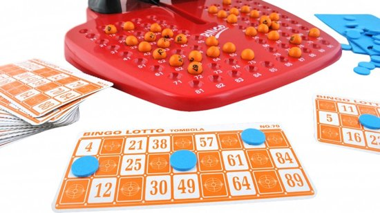 Bingo Spel Met Molen & Kaarten - Bingospel - Lotto/Kien Spel Met Bingomolen & Bingokaarten