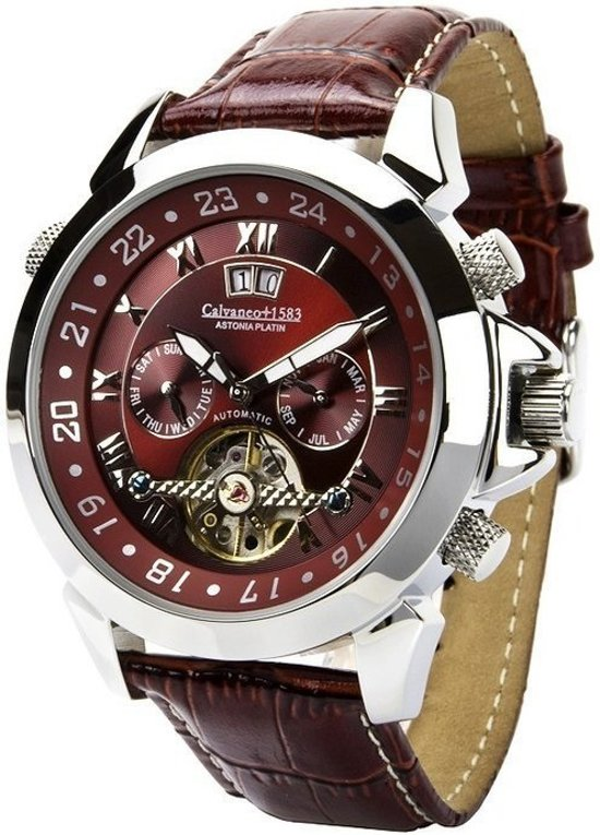 Calvaneo 1583 Calvaneo Astonia Platinum Redbrown Cognac - Polshorloge - 46 mm - Automatisch uurwerk