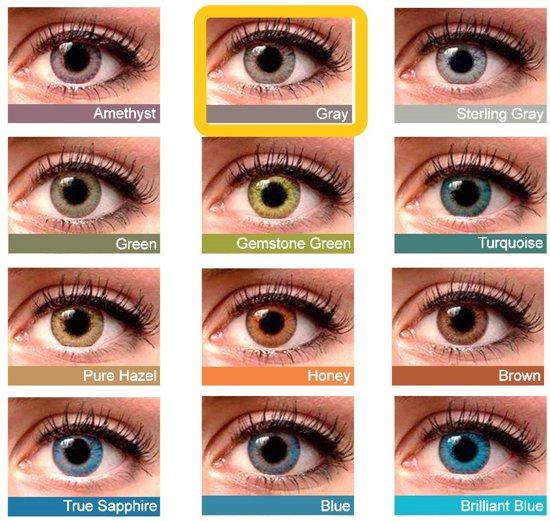 Kleurlenzen, contactlenzen, Grey kleur, grijskleur, Maandlenzen
