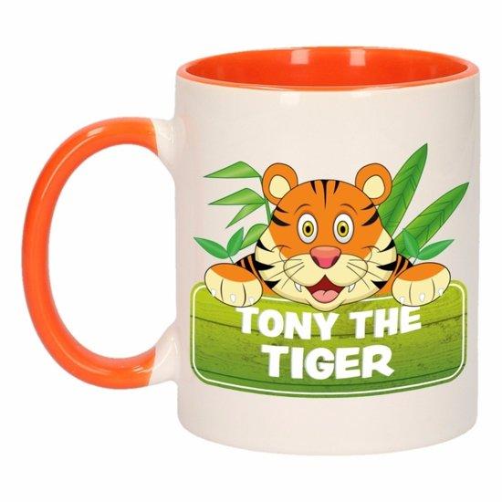 1x Tony the Tiger beker / mok - oranje met wit - 300 ml keramiek - tijger bekers