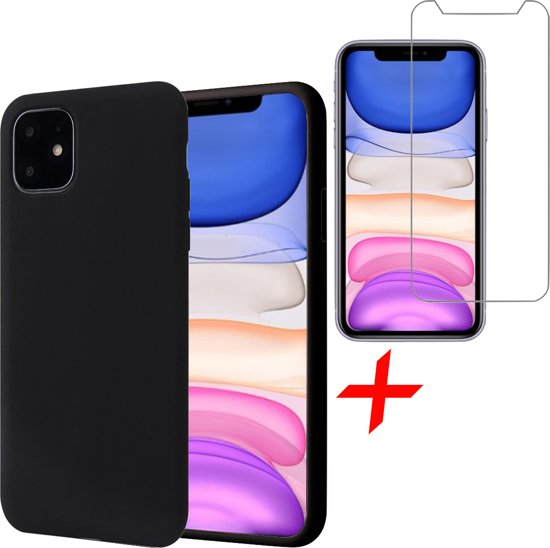 iPhone 11 Hoesje + Screenprotector Case Friendly - Liquid Soft Siliconen Case - iCall - Zwart