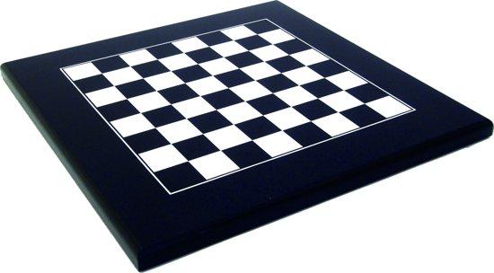 Luxe schaakset - Moderne schaakstukken zwart wit met bijpassend houten schaakbord - 40 x 40 cm