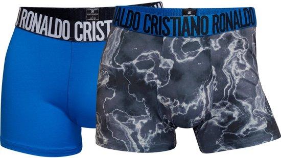 CR7 - Heren 2-Pack Microfiber Trunk Boxershorts Blauw Grijs - L