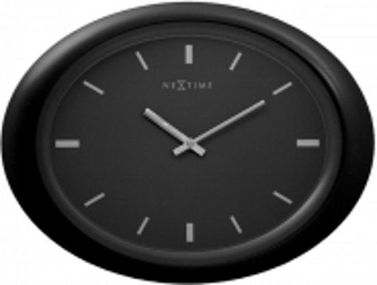 NeXtime Oval - Klok - Ovaal - Kunststof - 40.5x30 cm - Zwart