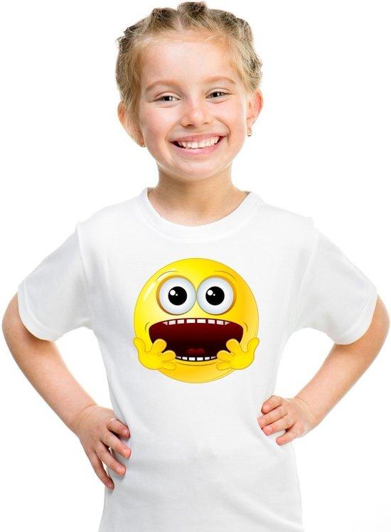 Smiley/ emoticon t-shirt geschrokken wit kinderen XL (158-164)
