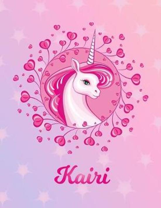 Kairi: Unicorn Large Blank Primary Handwriting Learn to Write Practice Paper for Girls - Pink Purple Magical Horse Personaliz