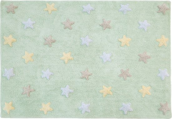 Vloerkleed kinderkamer Tricolor Stars Soft Mint