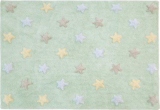 Vloerkleed kinderkamer Tricolor Stars Soft Mint