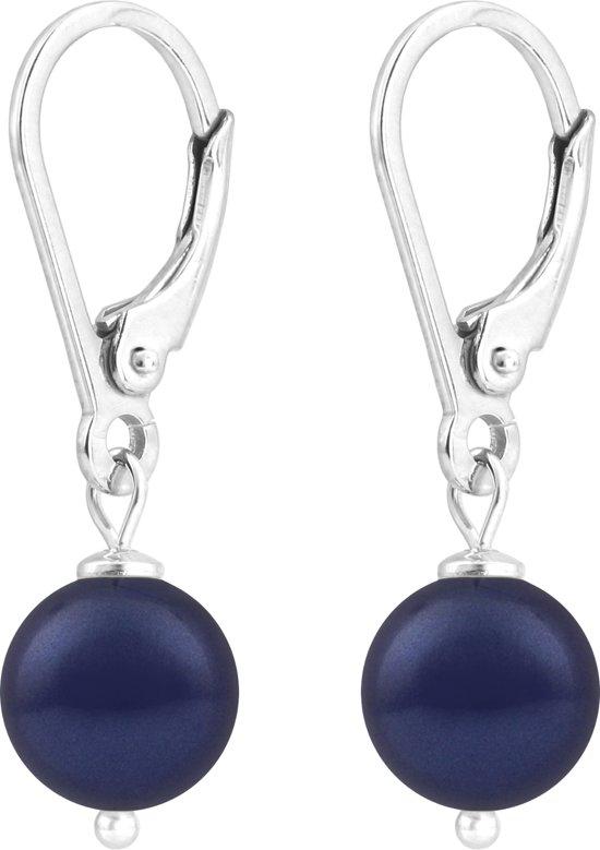 ARLIZI Oorbellen parel blauw 8mm - zilver - 1214