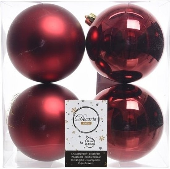 Bol Com Kerstboom Decoratie Kerstballen Mix Donker Rood 4 Stuks