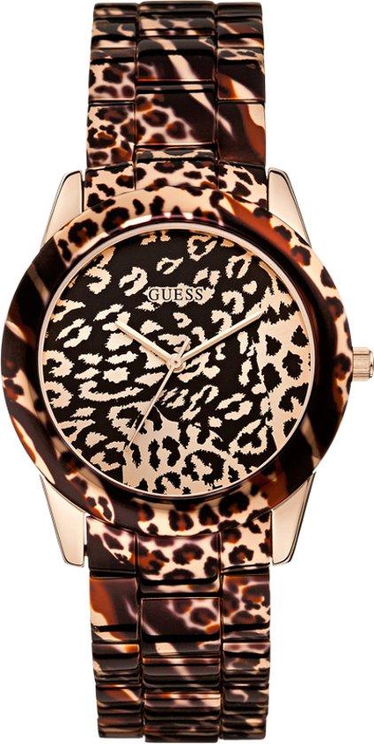 Guess W0425L3 Ladies Sport - Horloge - 38 mm - Staal - Dieren print