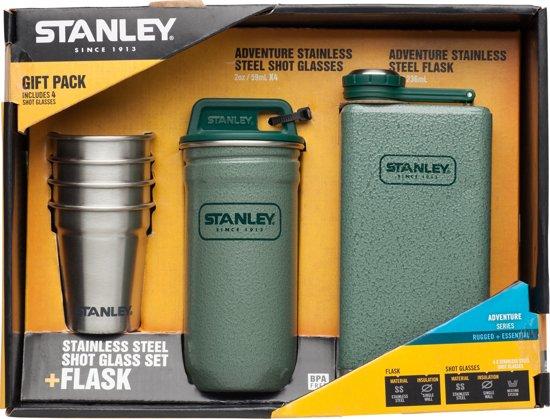 Stanley Adventure Shot Glass Set + Flask Flacon - 236 ml flacon + 4 x 200 ml cups - RVS - Hammertone Green