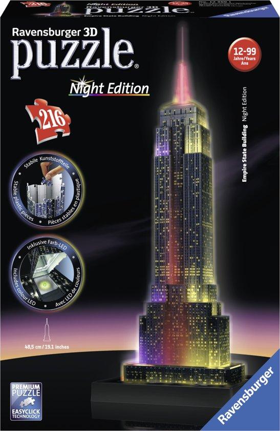 Ravensburger Empire State Building Night Edition- 3D puzzel gebouw - 216 stukjes