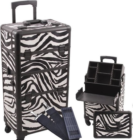 beauty koffer trolley xl zebra make upkoffer. Black Bedroom Furniture Sets. Home Design Ideas