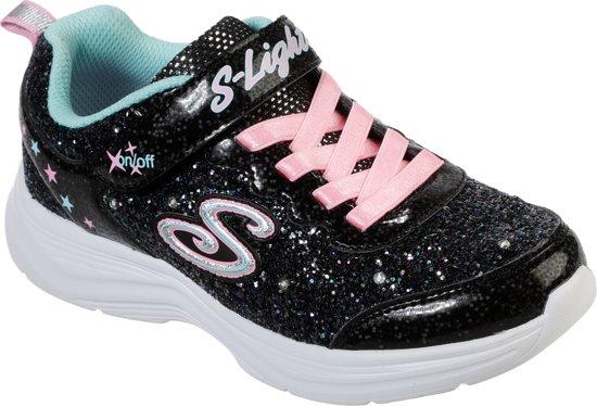 Skechers Glimmer Kicks Glitter N' Glow Meisjes Sneakers Zwart Maat 31