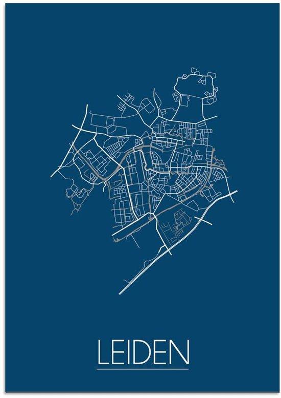 Plattegrond Leiden Stadskaart poster DesignClaud - Blauw - A3 poster