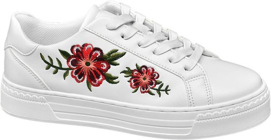 | Graceland Dames Witte sneaker embroidery Maat 38