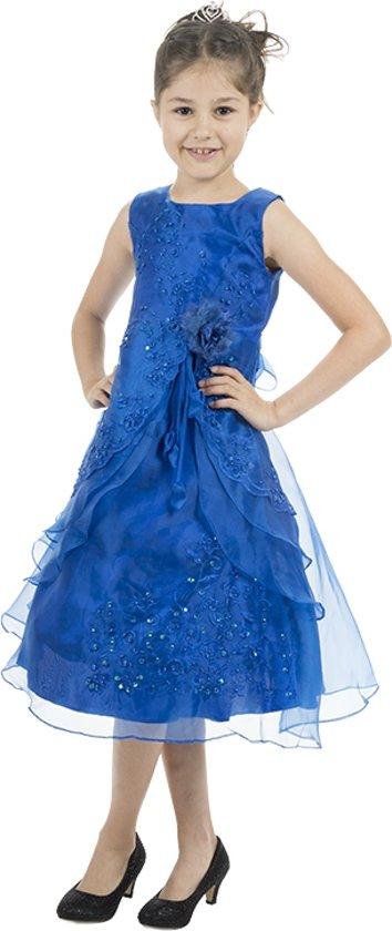 Meisjesjurk blauw met organza- 98/104