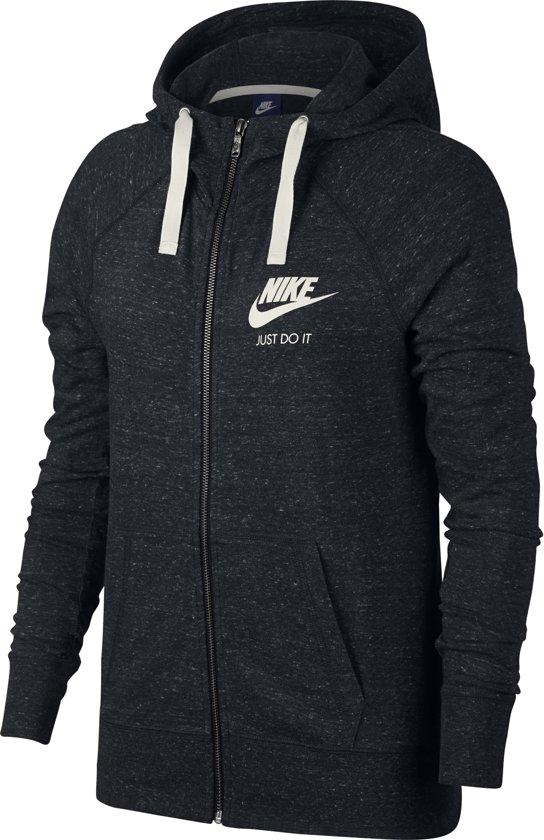 Nike Nsw Gym Vintage Hoodie Fz Vest Dames - Black/(Sail) - Maat L