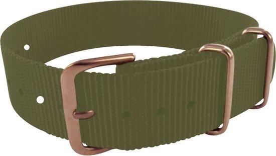 Max Horlogeband 5 NTS056 Nato Horlogeband - Ø18 mm - Groen / Rosékleurig