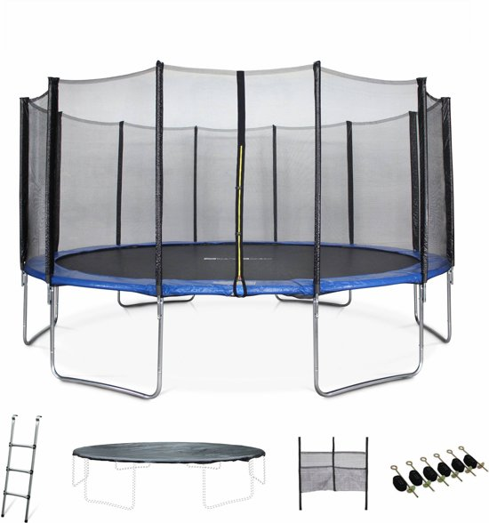 Trampoline Jupiter XXLØ 490cm, veiligheidsnet, ladder, dekzeil, verankeringskit en opbergnet