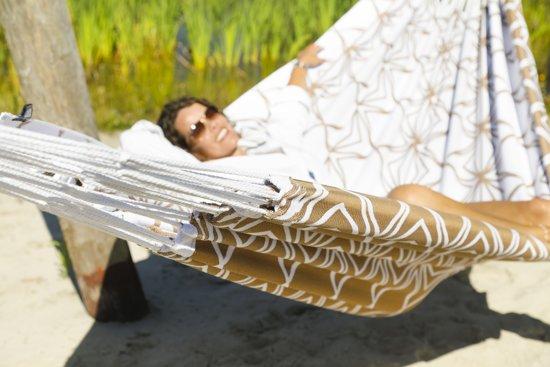 Hangmat Glamping Glamour Gold + bevestigingsset makkie