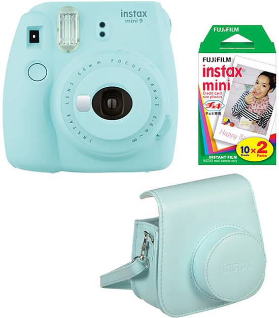 Fujifilm Instax Mini 9 - Incl. instax Film Mini 10st + Case - Ice Blue