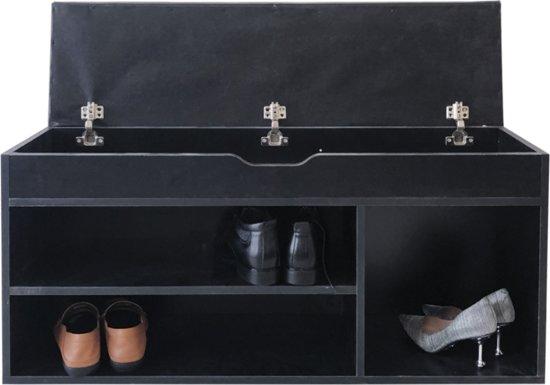 Schoenenkast hal bankje met opbergruimte - schoenen rek - met zitkussen zwart