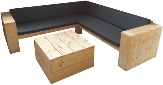 Kussens Loungebank Steigerhout : Steigerhouten loungebank met kussens steigerhouttuinmeubels
