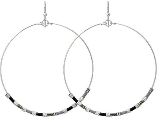 Oorbellen Ringen Kraaltjes Zilver - Grijs en Zwart