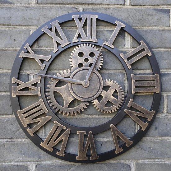 Handgemaakte Grote XL wandklok - Muurklok | Decoratieve retro 3D - Tandwiel - XXL klok - 45CM | Brons / Steampunk