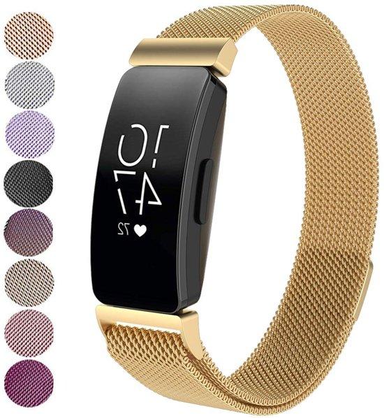 Milanese Loop Armband Voor Fitbit Inspire (HR) Horloge Band Strap - Milanees Armband Polsband - Goud Kleurig - Large
