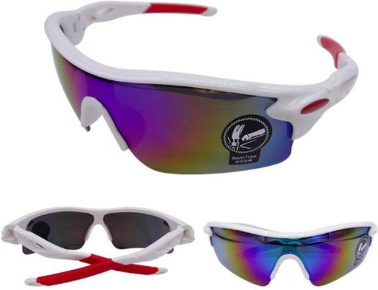 Premium Fietsbril - Wielrenbril / Sportbril / Fiets / Sport / Wielren Zonnebril - Wit - Snelle Planga