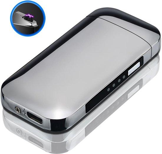 Elektrische Aansteker | Zilveren Vlamloze Aansteker | Windbestendig (incl. USB-kabel)