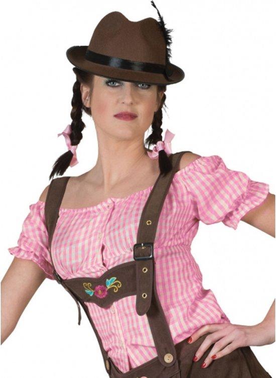 Oktoberfest - Roze geruite Tiroler blouse 44-46 (2XL/3XL)