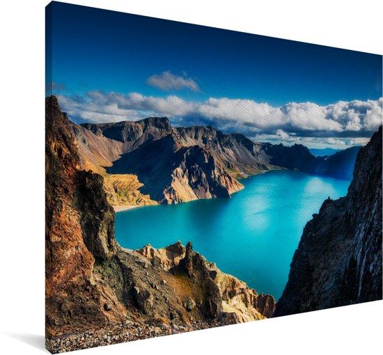 Zonnestralen op de Aziatische Changbai-berg in China Canvas 90x60 cm - Foto print op Canvas schilderij (Wanddecoratie woonkamer / slaapkamer)