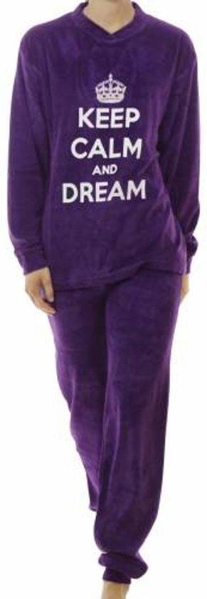 Lunatex velours meiden pyjama Keep Calm  9870  - 128  - Blauw