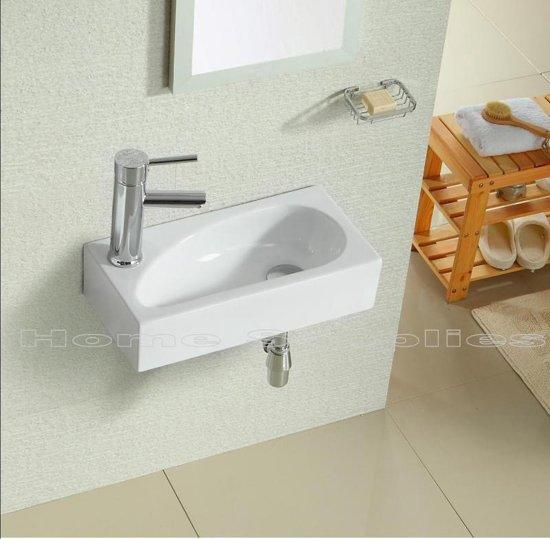 Fontein 40cm teardrop wc wastafel set links wit 40 x 20 x 10 cm wit design keram - Wc met wastafel ...