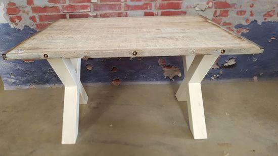 Hardhouten Uitschuifbare Eettafel.Tafel Steenschot Whitewash Met Witte Houten X Poot