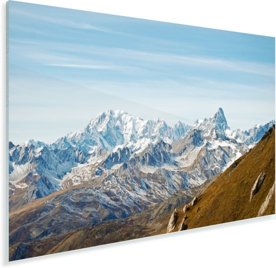 Uitzicht op de Mont Blanc vanaf de Champillon Plexiglas 30x20 cm - klein - Foto print op Glas (Plexiglas wanddecoratie)