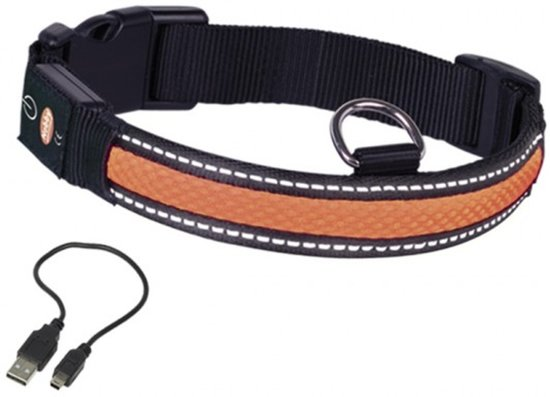 nobby verlichte halsband hond oplaadbaar halsomtrek 36 tot 51 cm oranje