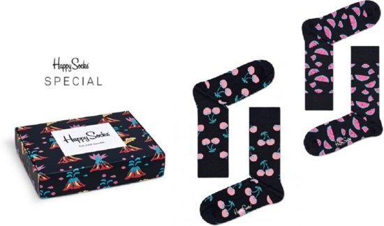 Happy Socks 2-Pack Volcano Giftbox | Watermelon & Cherry | Maat 41/46