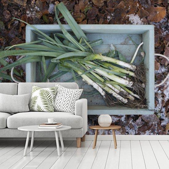 Fotobehang vinyl - Prei in een houten kist met bladeren op de achtergrond breedte 340 cm x hoogte 270 cm - Foto print op behang (in 7 formaten beschikbaar)