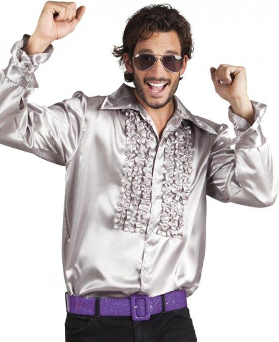 Voordelige zilveren rouche blouse M