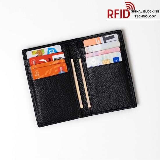 98d9b4c3236 RFID Luxe Leren Pasjeshouder / Creditcardhouder Portemonnee Zwart