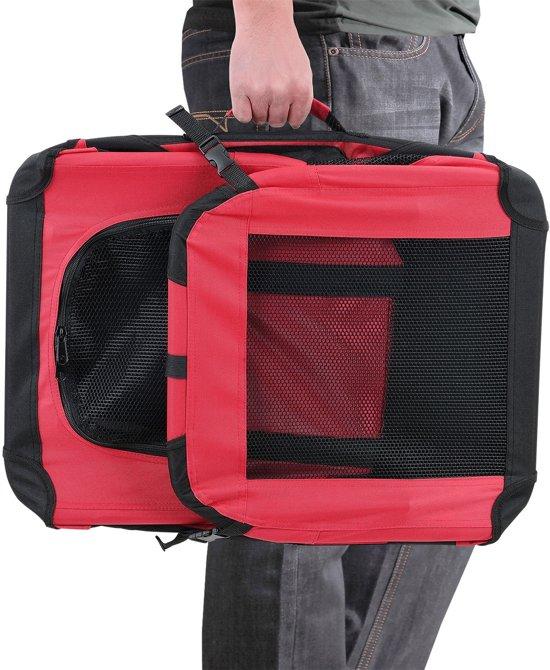 [pro.tec]® Dieren transportbox - reismand - rood - S