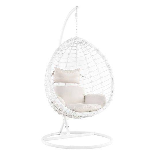 Hangstoel Egg Wit.Bol Com Beliani Fano Hangstoel Wit Pe Rotan